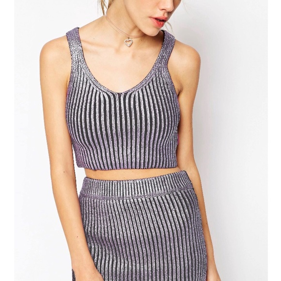 a39a8795caffc5 ASOS Tops - ASOS Co-ord Knitted Top in Metallic Foil Print